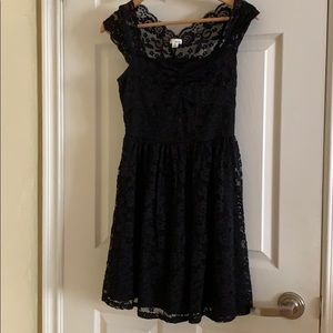 Garage Lace Black Dress mid length